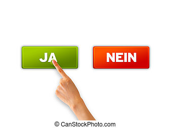 Ja und Nein - A hand pointing at a green ja icons.