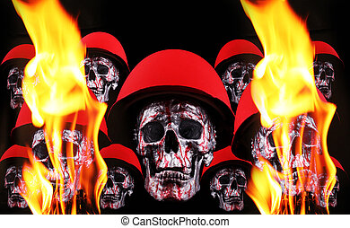 skulls - Human silver skulls with red helmets and fire...