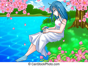 Girl at Pond Side - Cartoon illustration of a girl sitting...