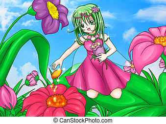 Spring Pixie - Cartoon illustration of a pixie sitting on...