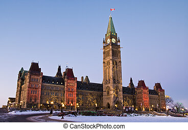December Politics - The canadian Parliament Centre block...