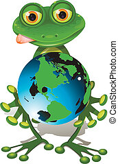 frog and globe - illustration, merry green frog with blue...