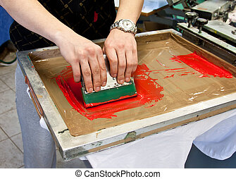 screen printing - manual screen printing - hand printing...