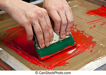 t-shirt printing - red color is printing on t-shirt with...