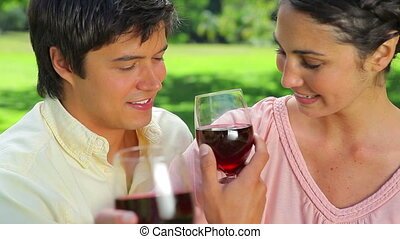 Happy couple drinking red wine in the countryside