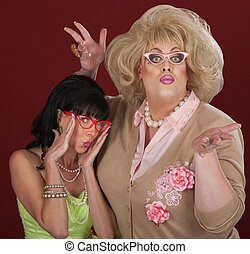 Funny Fashionable Women - Woman and drag queen with thick...