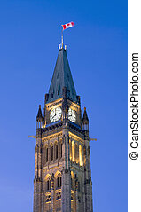 8 O'Clock Politics - The canadian Parliament Centre Block...