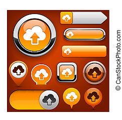Sync high-detailed web button collection - Sync orange...