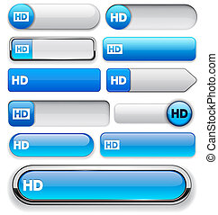 HD high-detailed web button collection - HD blue design...