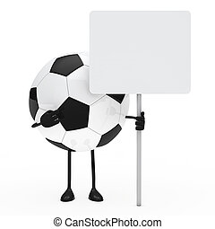 football figure hold billboard on white background