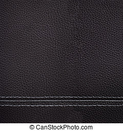 Black leather sewing texture for background