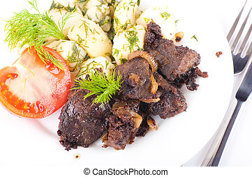 Fried pork liver with tomatoes and potatoes