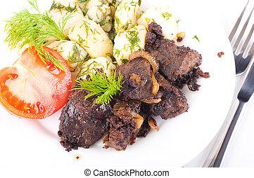pommes terre, porc, frit, foie, tomates