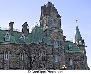 Corner politics - The canadian Parliament West block in the...