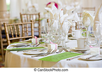 wedding table set for fine dining