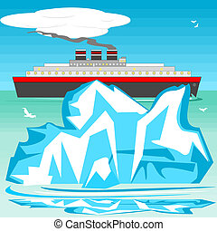 Iceberg and ship - An iceberg and a ship are passing each...