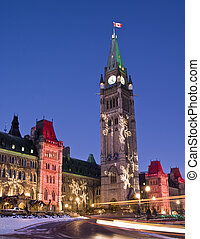 Festive Parliament - The canadian Parliament during the...