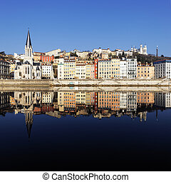 Lyon reflection - view of famous Lyon and Saone River in...