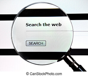Magnifying glass on Search the Web service - Magnifying...