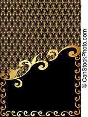 vertical vintage label with spiral golden pattern -...