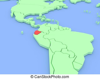 Three-dimensional map of Equador isolated. 3d
