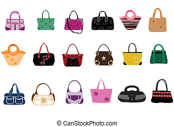 Fashion bags on the white background