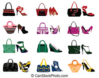 Shoes and bags on the white background