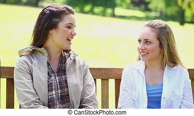 Happy young women chatting in a park