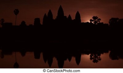 Sunrise at Angkor Wat temple, Asia - Sunrise and early...