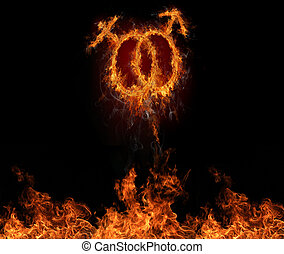 Burning male and female symbols, flying off fire wall.Symbol...