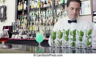 Latin american barman in bar - Portrait of mid adult...