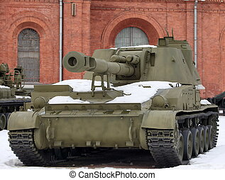 self-propelled cannon against the fortress wall