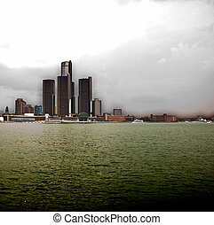 Detroit River Skyline - A vast view of the Detroit border