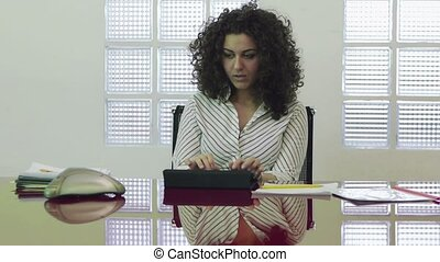 Businesswoman doing conference call - Young business woman...