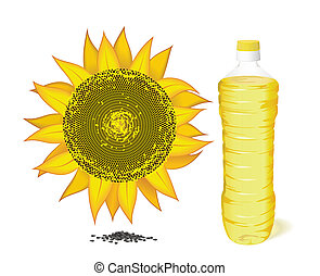 Sunflower, a bottle of sunflower oil and seeds.