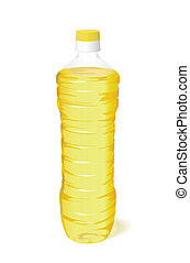 A bottle of sunflower oil. - A bottle of vegetable oil is on...