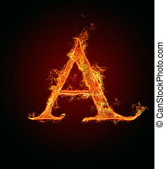 Fire letter - High resolution fire alphabet letter isolated...
