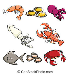 Sea animals icons - A vector illustration of different sea...