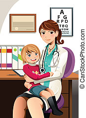 FY234 - A vector illustration of a pediatrician with a...