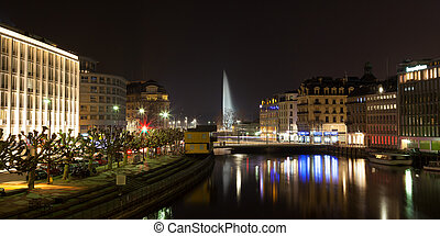 Geneva skyline by night in Switzerland - Panoramic view of...