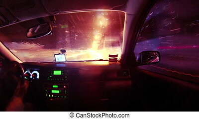 Driving in night city timelapse view from car cabin. Full HD.
