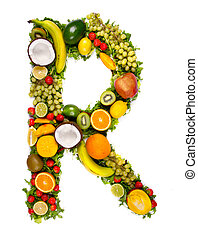 Vegetable letter - Letter made of vegetable pieces, isolated...