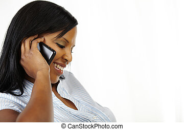 Pretty young woman on cellphone