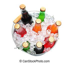 balde, sortido, soda, garrafas