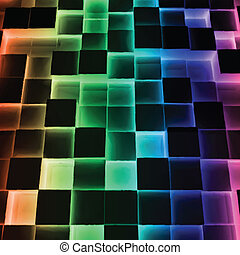 Disco Abstract Square Box. Vector