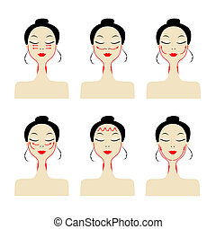 Massage lines on woman face