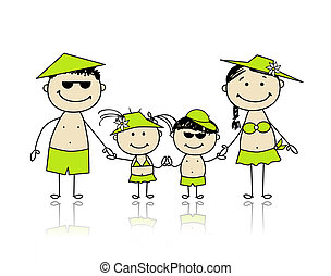 Summer holidays. Happy family for your design