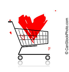Big red heart in shopping cart for your design