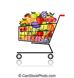 Fruits in shopping cart for your design