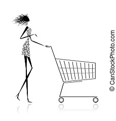 Woman with shopping cart for your design